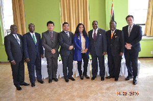 L-R: H.E. Solomon Azoh-Mbi Anu'a Gheyle, High Commissioner for Cameroon; H.E. Jack Mugendi Zoka, High Commissioner for Tanzania; H.E. PG Kamal Bashah PG Ahmad, High Commissioner for Brunei Darussalam; Mr. Saddha Waruna Wilpatha, High Commissioner (Ag.), Sri Lanka ; Ms. Almas Jiwani; H.E. Bobby Samakai, High Commissioner for Zambia; H.E. Calsey Johnson, High Commissioner for Bahamas; H.E. Tony Negus, High Commissioner for Australia.