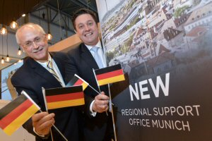 Andy Nureddin, Vice President, Customer Support and Training, Bombardier Business Aircraft (left) and Chris Davey, Director, Customer Services and Support, Europe, Russia, CIS, Middle East & Africa, Bombardier Business Aircraft (right), announce the opening of new Regional Support Office in Munich, Germany.