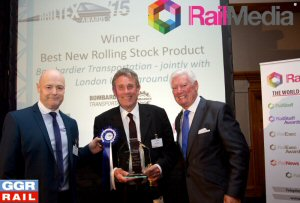 Bombardier Project Director Martin Bright accepting the Best New Rolling Stock award at Railtex 2015