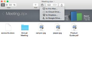 WinZip makes it easy to add files from iCloud Drive directly to a Zip file. When saving to iCloud Drive, use WinZip to create smaller files that save space and add powerful encryption for extra file protection.
