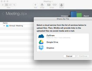 Choose a favorite cloud service -- ZipShare, Google Drive or Dropbox -- for easy file sharing. WinZip will upload your Zip files to your selected service and provide direct links for sharing over email, social media and messaging services including Facebook, Twitter, LinkedIn, Messages and more.