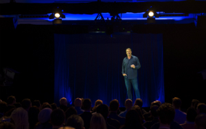 Tony Robbins HumaGram live on stage at his Business Mastery event in Melbourne, Australia.