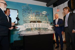 """July 13, 2015- The Edmonton Arena District was officially renamed Ice District today in Edmonton Alta., as (left to right) Edmonton City Councillor Scott McKeen; Darren Durstling, President & CEO, WAM Development Group; Bob Nicholson, CEO and Vice-Chair, Oilers Entertainment Group;  and Glen Scott, Senior Vice-President, Real Estate, Katz Group, """"break the ice"""" with the new brand of the largest mixed-use sports and entertainment district in Canada."""