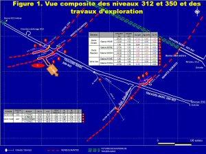 Figure 1. Vue composite des niveaux 312 et 350 et des travaux d'exploration (Mines d'or Dynacor inc.)
