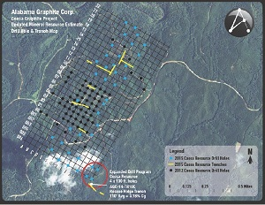 The Alabama Graphite Corp. Coosa Graphite Project Updated Mineral Resource Estimate Drill Hole and Trench Map.