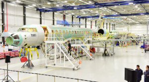 Global 7000 flight test vehicles (FTVs) one and two on final assembly line in Toronto