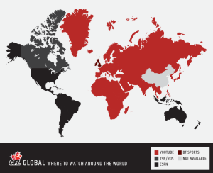 The map indicates all the ways around the world you can watch the 103rd Grey Cup Playoffs.