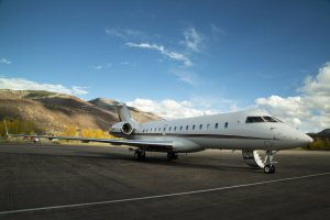 The NetJets Global 6000 aircraft at Aspen Pitkin County Airport in Colorado.