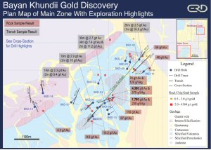 Bayan Khundii Gold Discovery - Plan Map of Main Zone With Exploration Highlights