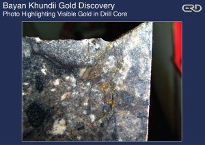 Bayan Khundii Gold Discovery - Photo Highlighting Visible Gold in Drill Core