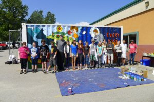 A group of Visual Arts students from L.V. Rogers Secondary School in Nelson stand in front of their winning entry.