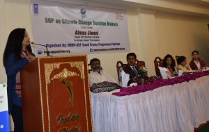 Almas Jiwani addressing at the Forum