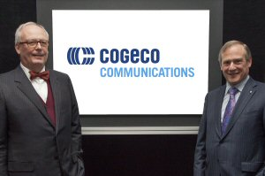 Jan Peeters and Louis Audet, Chairman of the Board and President and Chief Executive Officer of Cogeco Inc. and Cogeco Communications Inc., respectively, unveil Cogeco's new brand identity and names at the company's Annual Shareholders' Meeting held in Montréal on January 13, 2016.