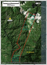 Figure 2: Map showing the collection points in blue, carried out in a grid 200x40m. Only in the central part of the North Area was it not possible to collect due to extremely steep relief.