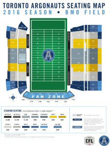 Toronto Argonauts 2016 season tickets seating chart at BMO Field.