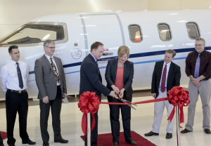 Bill McGoey, President, Aurora Jet Partners and his team with Tonya Sudduth, General Manager, Learjet Programs and Learjet Site.