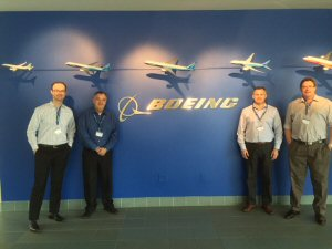 A team from Trailcon Leasing travelled to Boeing Aerospace for a hands-on look at its operations. Left to right are: Giovani Cani, Don Andrews, Bryan Burningham and Paul Lahie.