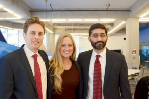 Ryerson University's MBA students take first place and the People's Choice Award in the Real Vision Investment Case Competition hosted by The Economist's Which MBA? division - a first for a Canadian university. Ryerson MBA team [left to right]: Jesse Berger, Krysten Connely and Saad Rahman.  Photo credit: Ted Rogers School of Management