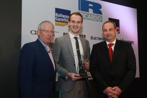 Bombardier Graduate Ben Parry, accompanied here by  Nick Hewer and Jon Caen, won Rail Engineer of the Future at the Rail Business Awards on Feb 25.