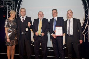 Bombardier's Vice President Projects, Crossrail & London Underground, Peter Doolin and team accepting the Transport Supplier of the Year award at the London Transport Awards on March 3.