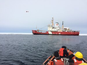 The Government of Canada tests unmanned aerial vehicle from the flight deck of the CCGS George R. Pearkes.