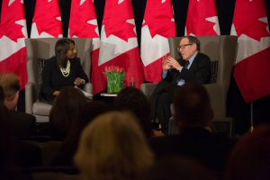 Indira Naidoo-Harris, MPP, Halton and former Minister of Justice, The Hon. Irwin Cotler, discussing pursuing justice.