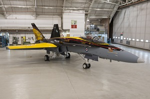 The CF-18 Demonstration Jet is unveiled during a ceremony at 4 Wing Cold Lake, Alberta, on 5 April, 2016. Image by: Cpl Bryan Carter, 4 Wing Imaging, CK04-2016-0278-002