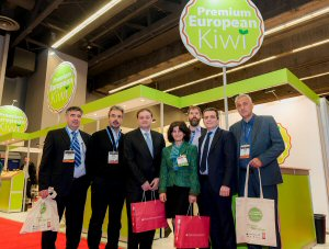 A Greek delegation poses with dignitaries at the SIAL Canada: (From left to right) Mr. Achilleas Penlioglou, CEO Alkyon SA; Mr Mihalis Ksekarfotakis, President of Agricultural Cooperative Chrisochori Nespar; Mr. Nicolas Sigalas, Consul General of Greece in Montreal; Mrs. Pelagia Sousiopoulou, Head of Commercial Section of Greece's Consulate in Ottawa; Mr.Dimitrios Loutsighas, CEO Goustera SA; Mr. Sotirios Papadopoulos, Deputy Governor of Agricultural Economy, Region of East Macedonia and Thrace (Greece); and Mr. Georgios Panagiotidis, President Agricultural Cooperative Nestos, pose for a group picture at the Premium European Kiwi booth at SIAL Canada in Montreal, Thursday, April 14, 2016.