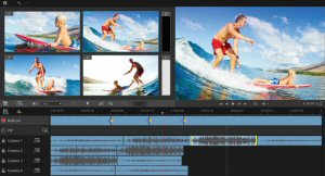 The Multi-Camera Editor in Pinnacle Studio 19.5 Ultimate makes it simple to edit footage from up to 6 cameras and two additional soundtracks.