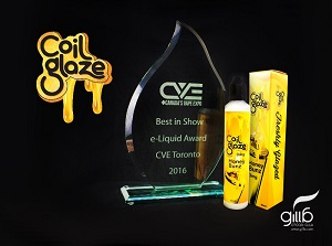 Best in Show E-liquid Award from Canada's Vape Expo with Gilla's winning brand Coil Glaze