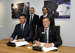 (R) John Saabas, President of Pratt & Whitney Canada and (L) Oleksandr A. Kotsiuba, President of Antonov signing a MOU for a new version of the PW150A turboprop engines, accompanied by (L) Roman Romanov, General Director of UkrOboronProm and (R)Dr. Khaled A. Alhussan, Director of Space and Aeronautics Research Institute, KACST.
