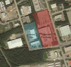 Adjoining property, 10 acres; 136,000 sq ft building