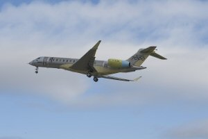 The Bombardier Global 7000 aircraft is airborne for first flight