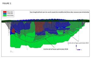 Figure 2 - Vue longitudinal vers le nord-ouest du modèle de blocs des ressources minérales