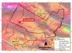 Figure 1 : Gussie prospect drill target within the Kaburi Pl drapped on regional airborne magnetics