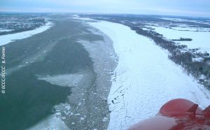 Fast ice breaking up west of Laviolette Bridge