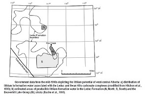 Figure 2 - Estimated Areas of Producible Lithium Formation Water in the Leduc Formation and the Beaverhill Lake Group strata (Source Credit: AGS Report)