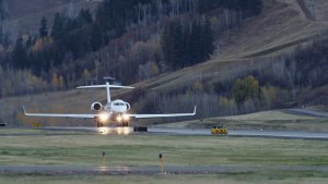 The Global 6000 aircraft takes off from Aspen Pitkin County Airport in Colorado.