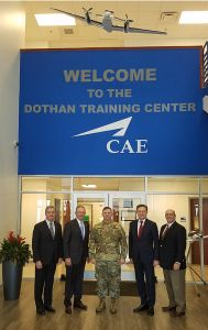 "From left: Ray Duquette, President and General Manager, CAE USA; General Bryan ""Doug"" Brown (USA-ret), Chairman of CAE USA Board of Directors; Major General William K. Gayler, Commanding General of the U.S. Army Aviation Center of Excellence and Fort Rucker; Marc Parent, President and Chief Executive Officer, CAE; Gene Colabatistto, Group President, Defence & Security, CAE."