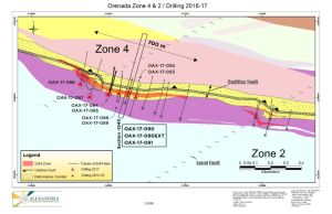 Figure 1. Drill Hole Location Map, Zone 4, superimposed on geology