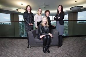 Left to right, Loree Gray (Sr. VP, Insurance), Leslie Castellani (VP, Strategic Initiatives & Corporate Affairs), Launi Skinner (Chief Executive Officer), Liz Bailey-Connor (Sr. VP, People Services), Shelley Besse (Chief Operating Officer)