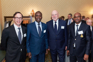 (L to R) Richard Young, President & CEO, Ousmane Cisse, Director of Mines & Geology, Government of Senegal, Alan Hill, Chairman of the Board, and Aziz Sy, General Manager, Sabodala Gold Operations, at the PDAC Awards Gala reception on March 7, 2017.