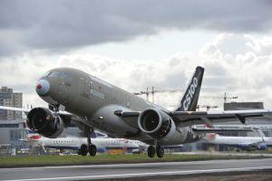 L'avion CS100 à l'Aéroport London City