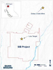 Figure 1: SIB Project claim boundary and Lulu Target, located approximately 4 kilometers south-southwest of Eskay Creek Mine, British Columbia, Canada.