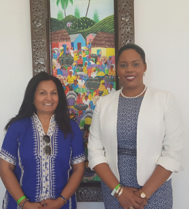 Emillie Jessy MENOS, Minister of Tourism, Haiti (Right).  Almas Jiwani, CEO,  Almas Jiwani Foundation  (Left)
