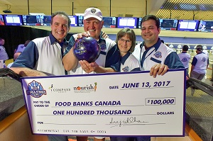 Rod Black (from left); hockey legend Peter Mahovlich; Katharine Schmidt, Executive Director, Food Banks Canada; and Saajid Khan, CEO, Compass Group Canada, shown in Toronto, Tuesday, June 13, 2017, at Compass Group Canada's Stars & Strikes Celebrity Bowling Event, were among many celebrities who attended the event and raised $100,000 to help end food insecurity in communities across Canada. The Canadian Press PHOTO/Compass Group Canada