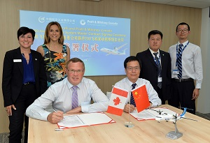 John Saabas, President, Pratt & Whitney Canada and Chen Fu Sheng, Chairman, AVIC Aircraft signing agreement to supply its PW150C engines to power the MA700 aircraft at the 2017 Paris Airshow.