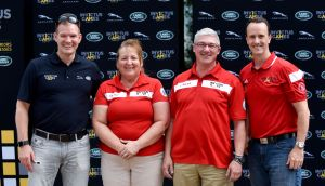 Jeff Peel, Brand Director for Jaguar Land Rover Canada (left), and Greg Lagacé, Team Canada Manager (right), named Martine Duval and Steve Murgatroyd as the Team Canada Drivers for the Invictus Games at the Jaguar Land Rover Canada Driving Challenge Trials, Sunday, June 18, 2017, in Montebello, Quebec.  Jaguar Land Rover Canada is proud to support Team Canada at the Invictus Games in Toronto, September 23-30, 2017. The Canadian Press Images PHOTO/Jaguar Land Rover Canada