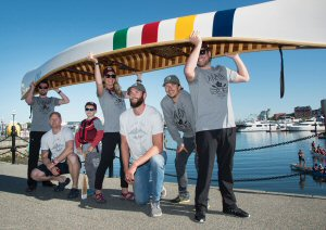 Hudson's Bay kicks off the Grand Portage with (from left) Kevin Gavin, Adam Kreek, Jefferson Kreek, Rebecca Watts, Conlin McCabe, Simon Whitfield, and Ryan Regehr, Thursday, June 22, 2017, in Victoria, the starting point of a trek across Canada that will run for 66 days.  The Grand Portage is a fundraising initiative developed by Hudson's Bay in support of Trans Canada Trail, designed to help connect the remaining 2,200 kms of The Great Trail in celebration of Canada's 150th Birthday.  The Canadian Press Images PHOTO/Hudson's Bay