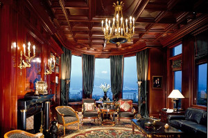 Library Sitting Room with Hokanson custom made carpet, French Walnut Coffered Ceilings and ocean views overlooking Burrard Inlet.